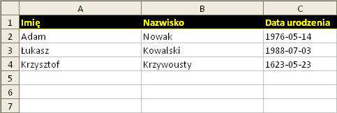 Excel: przykład 7