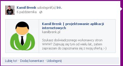 kamilbrenk.pl - przykład użycia Open Graph dla Facebooka
